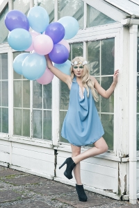 Fashion Photography in the Park with Balloons