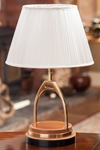Gold Metal Horse Shoe Lamp Product Photography