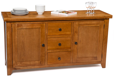 Example of oak sideboard furniture photographed on a white background after whitening the background in Photoshop